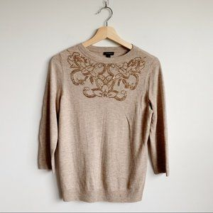 Talbots Lambswool Blend Sweater Beaded Classic S